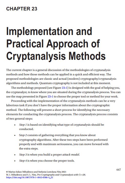 فصل 23 کتاب Pro Cryptography and Cryptanalysis with C++20